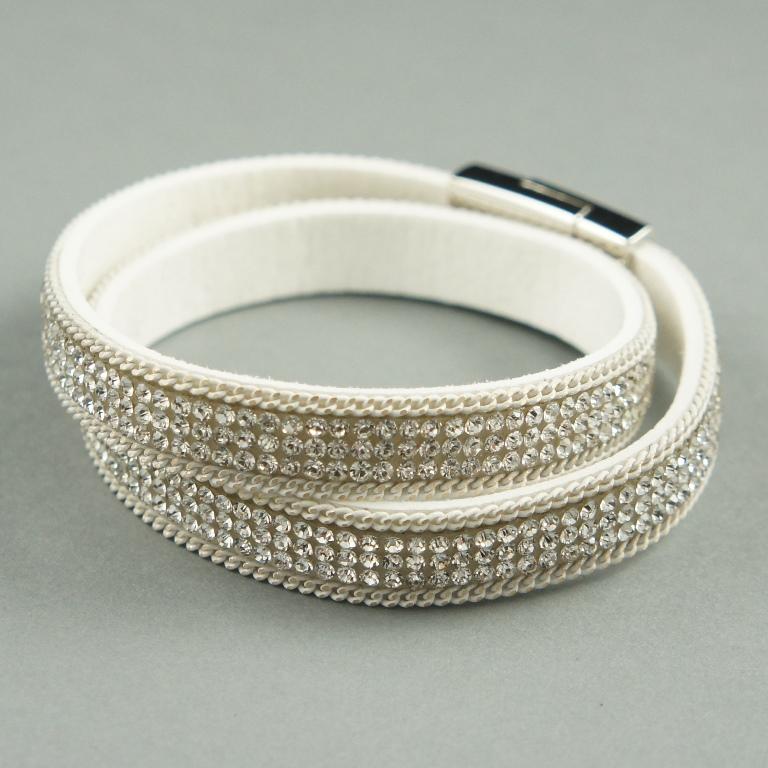 Silver suede cuff bracelet