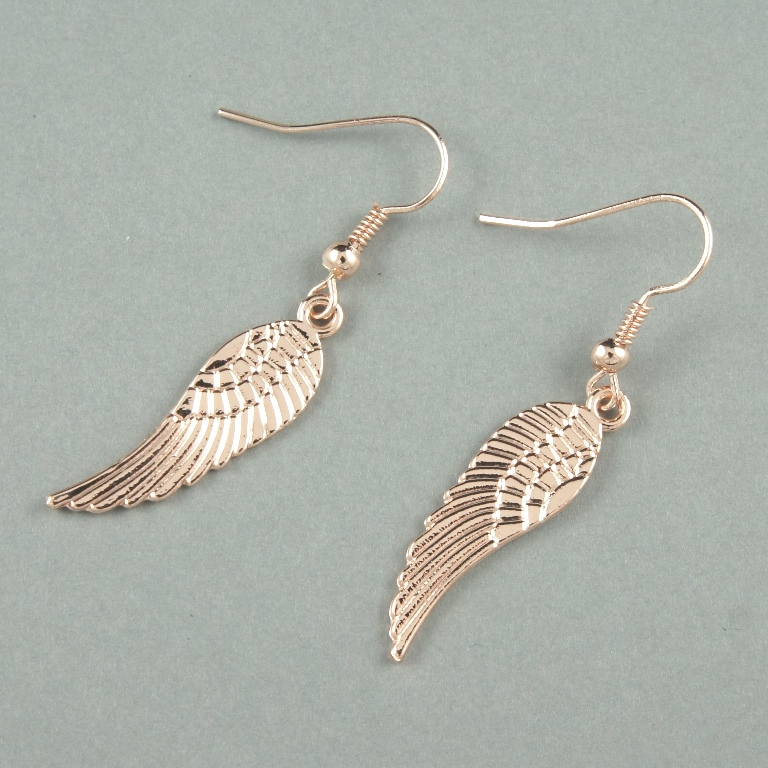 Rose gold angel wing earrings