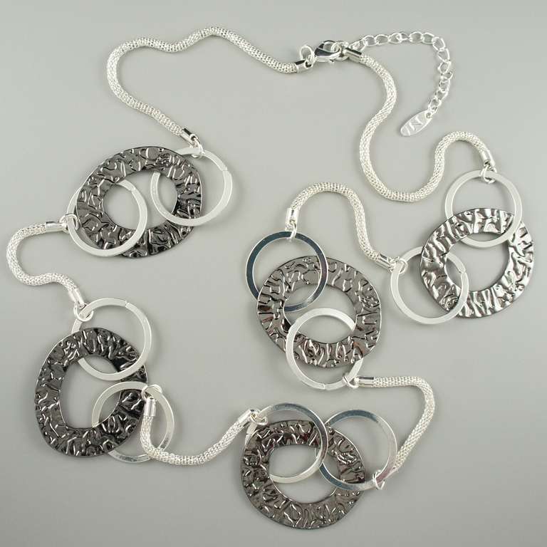 Long silver fashion necklace